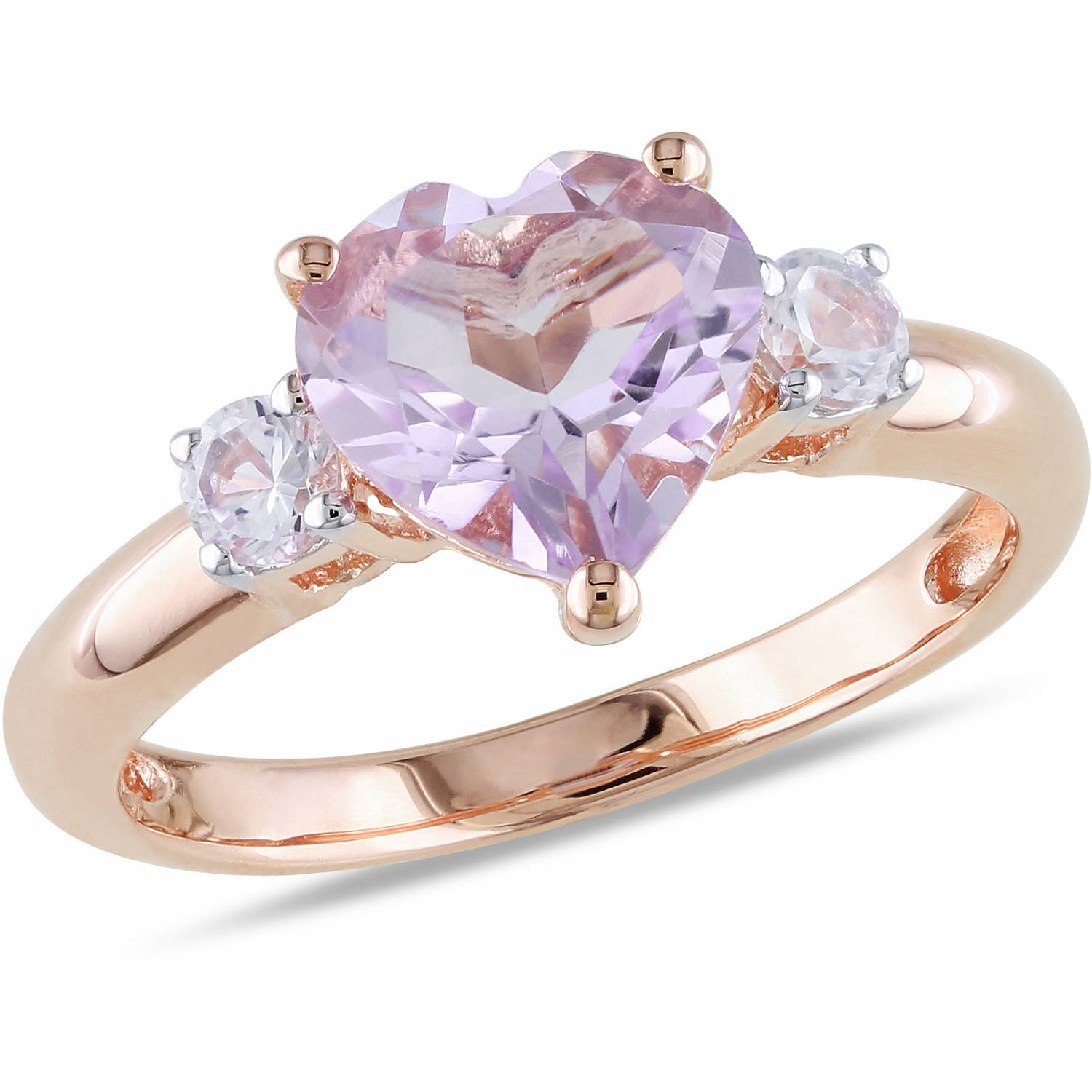 Tangelo 2 Carat T.G.W. Rose de France and Created White Sapphire Rose Rhodium-Plated Sterling Silver Three Stone Heart Ring