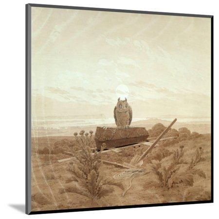 Landscape with Grave, Coffin and Owl Wood Mounted Print Wall Art By Caspar David Friedrich](Wood Coffin)