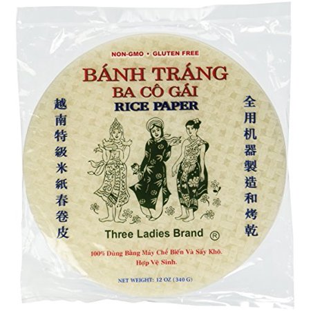 Vietnamese Spring Roll Rice Paper by Three Ladies 12 Oz. (Pack of 2)