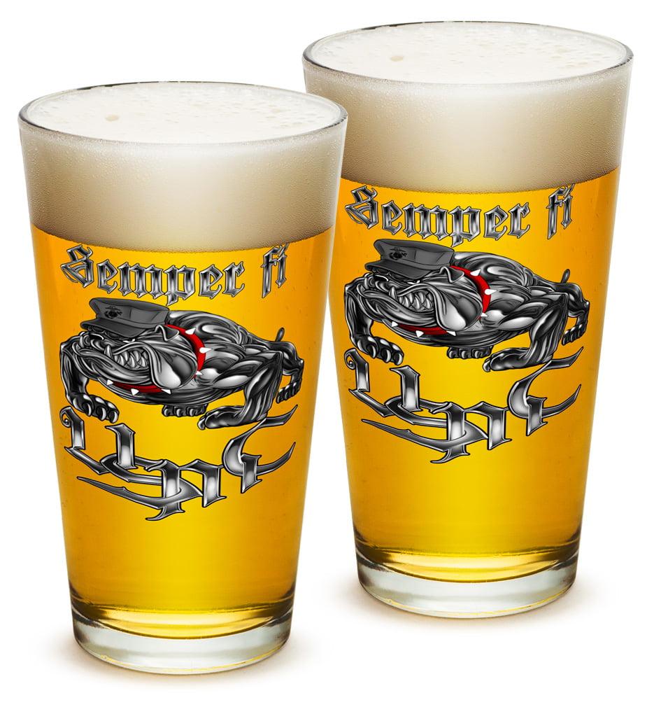 Pint Glasses – Marine Gifts for Men or Women – Sempri Fi Chrome Dog Marine Corps Beer Glassware – Beer Glasses with Logo - Set of 2 (16 Oz)