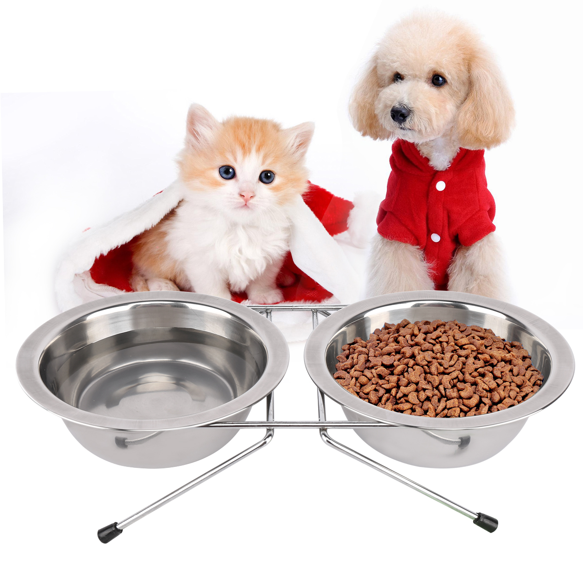 Stainless Steel Pet Bowl Double Dog Cat Food and Water Feeder Dish with Iron Stand