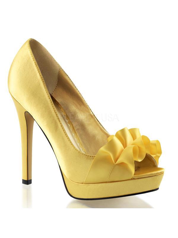 "LUMINA42/YLSA Fabulicious Shoes 4 3/4"" Lumina Yellow Satin Size: 6"