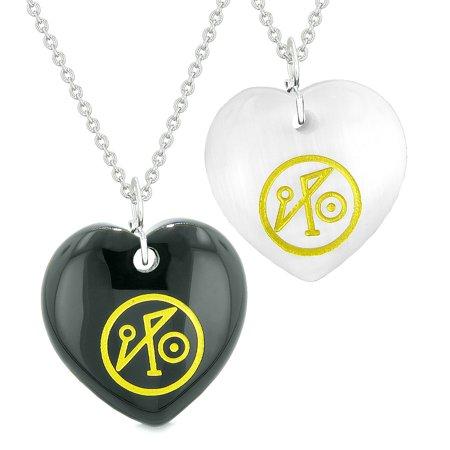 Archangel Michael Sigil Amulets Love Couples Best Friends Black Agate White  Simulated Cats Eye Necklaces