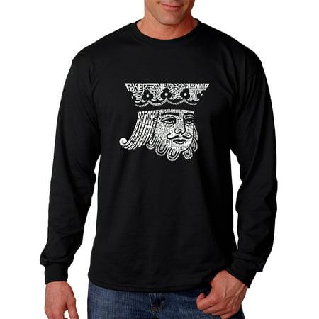 LA Pop Art Men's Word Art Long Sleeve T-shirt - King of Spades (La Kings Clothing)