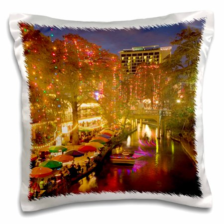 Evening Sun 16 Piece - 3dRose USA, TEXAS, San Antonio Riverwalk Area / Evening - US44 WBI0261 - Walter Bibikow - Pillow Case, 16 by 16-inch
