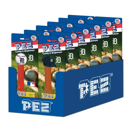 PEZ Candy MLB: Detroit Tigers, candy dispenser with 3 rolls of assorted fruit candy, box of 12