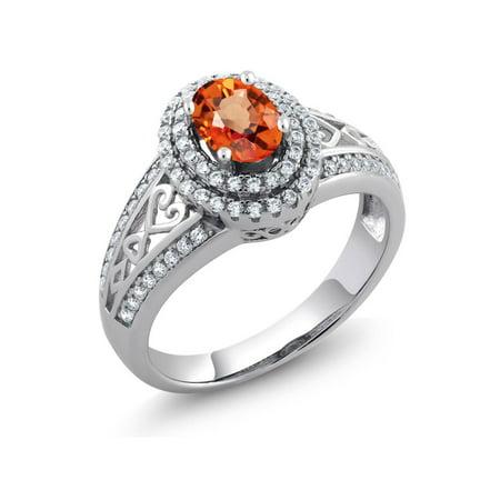 Orange Sapphire Diamond Anniversary Ring - 1.41 Ct Oval Orange Sapphire 925 Sterling Silver Women's Ring