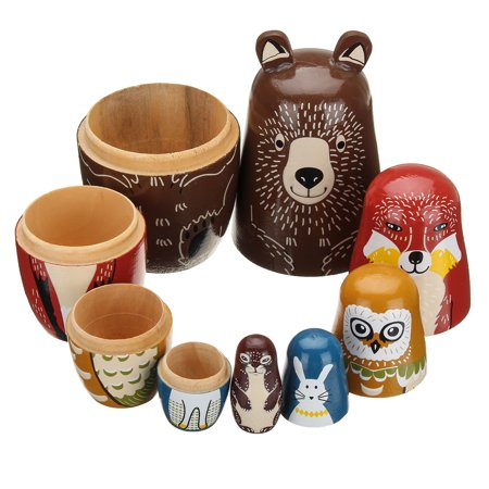 5Pcs Cute Wooden Animal Owl Rabbit Bear Special Russian Doll Traditional Asia Nesting Toy Matryoshka Funny Toy For Kid - Asian Toys