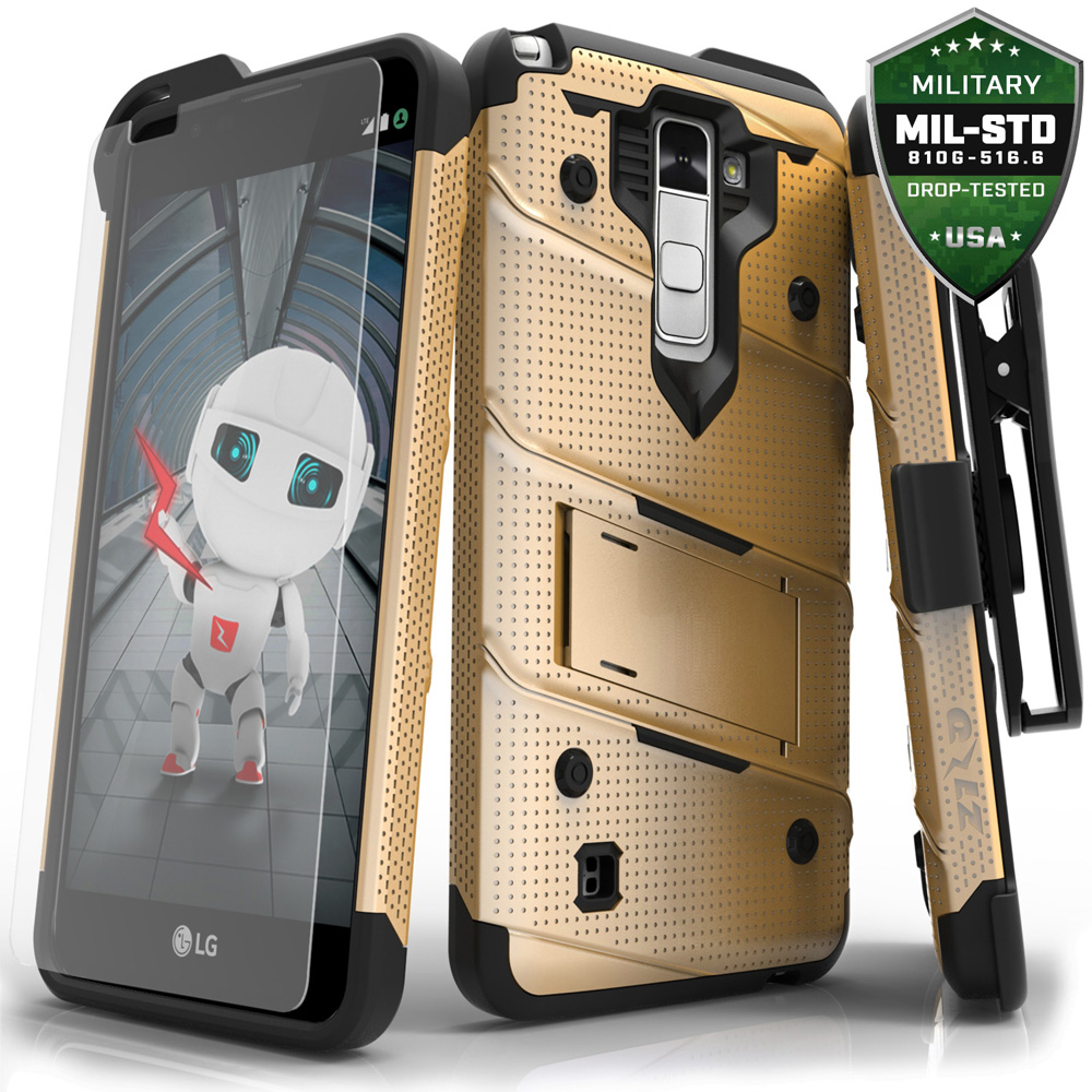 LG Stylo 2 Case, Zizo [Bolt Series] with FREE [LG Stylo 2 Screen Protector] Kickstand [Military ...