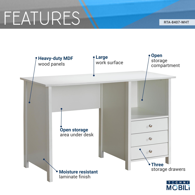 Surprising Techni Mobili Contempo Desk With 3 Storage Drawers White Interior Design Ideas Clesiryabchikinfo