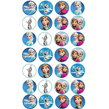 Frozen Edible Cupcake Toppers Elsa, Anna & Olaf x - Glow In The Dark Cupcake Toppers