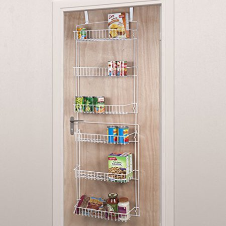 Door Storage Rack (5 Foot Overdoor Rack with 6 Baskets - White, Ideal for Storage and Organization of Various Sized Items By Everyday Home)