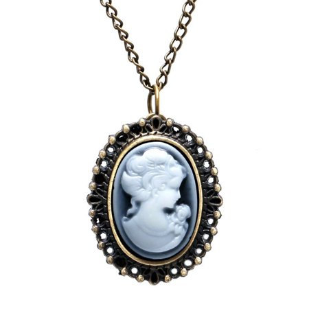 - Cameo Anti-tarnish Beauty Pocket Watch Necklace Antique Style Woman Watch, WP-1