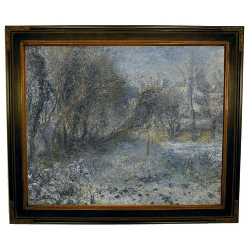 Historic Art Gallery 'Snow-covered Landscape 1870-75' by Pierre-Auguste Renoir Framed Painting Print