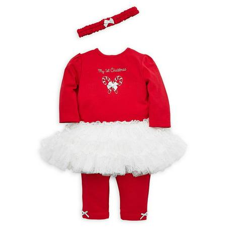 Baby Girl's 3-Piece Holiday Candy Cane Dress, Leggings & Headband Set ()