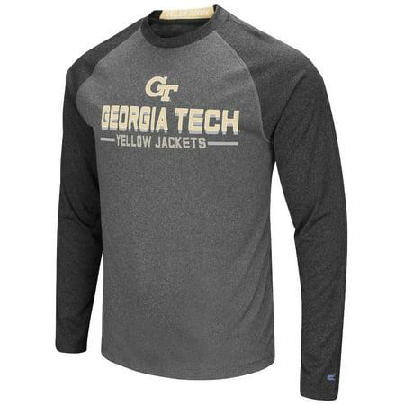 National Team Long Sleeve Tee - Georgia Tech Yellowjackets NCAA Ultra Men's Long Sleeve Charcoal Raglan T-Shirt
