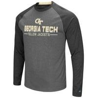 Georgia Tech Yellowjackets NCAA Ultra Men's Long Sleeve Charcoal Raglan T-Shirt