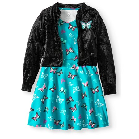 Butterfly Dress and Bomber Jacket, 2-Piece Outfit Set (Little Girls & Big Girls) - Dress For Girl