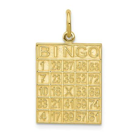 Gold Bingo Card Charm (10k Yellow Gold Solid Bingo Card Pendant Charm (15mm x 25mm) )