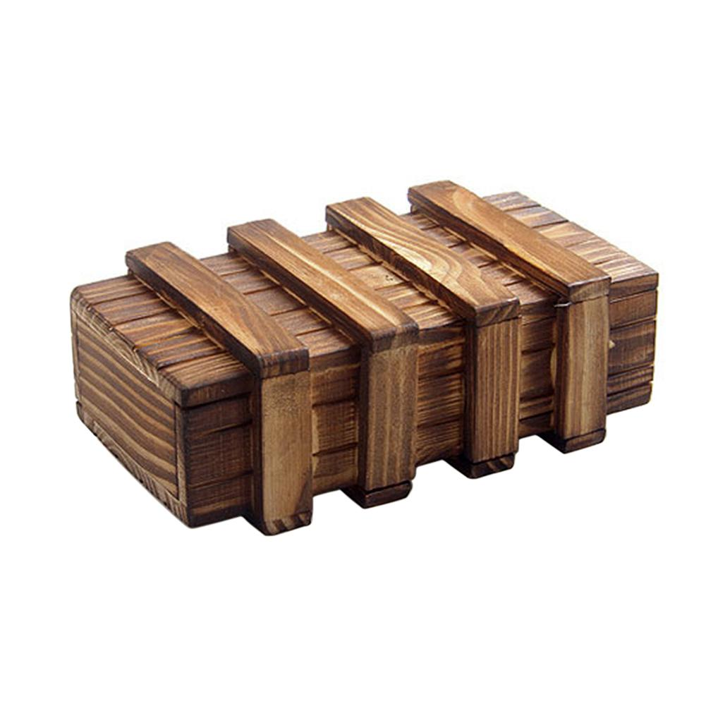 Magic Compartment Wooden Puzzle Box With Secret Drawer Brain Teaser