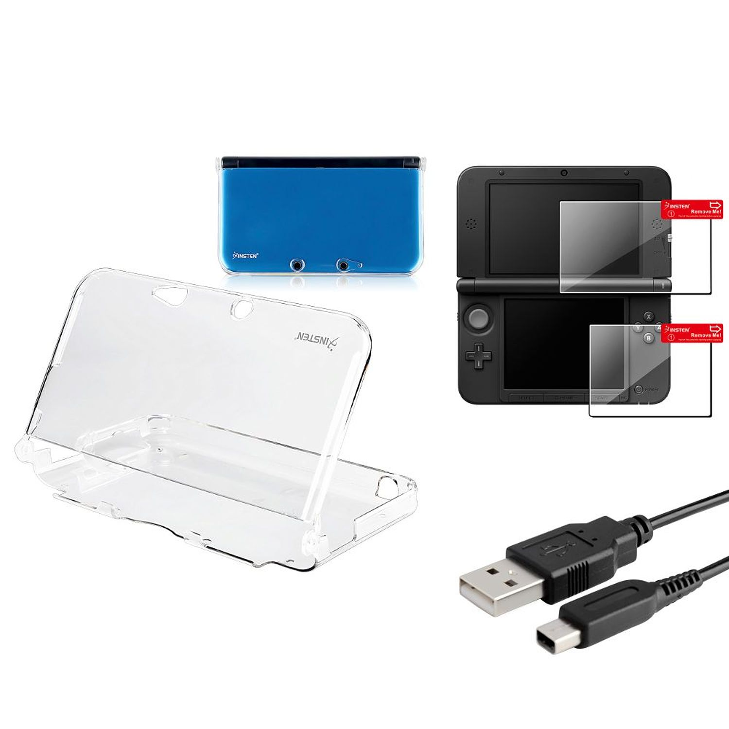 Nintendo 3DS XL Clear Crystal Skin Case+ 2 LCD Screen Protector +USB Charging Cable by Insten