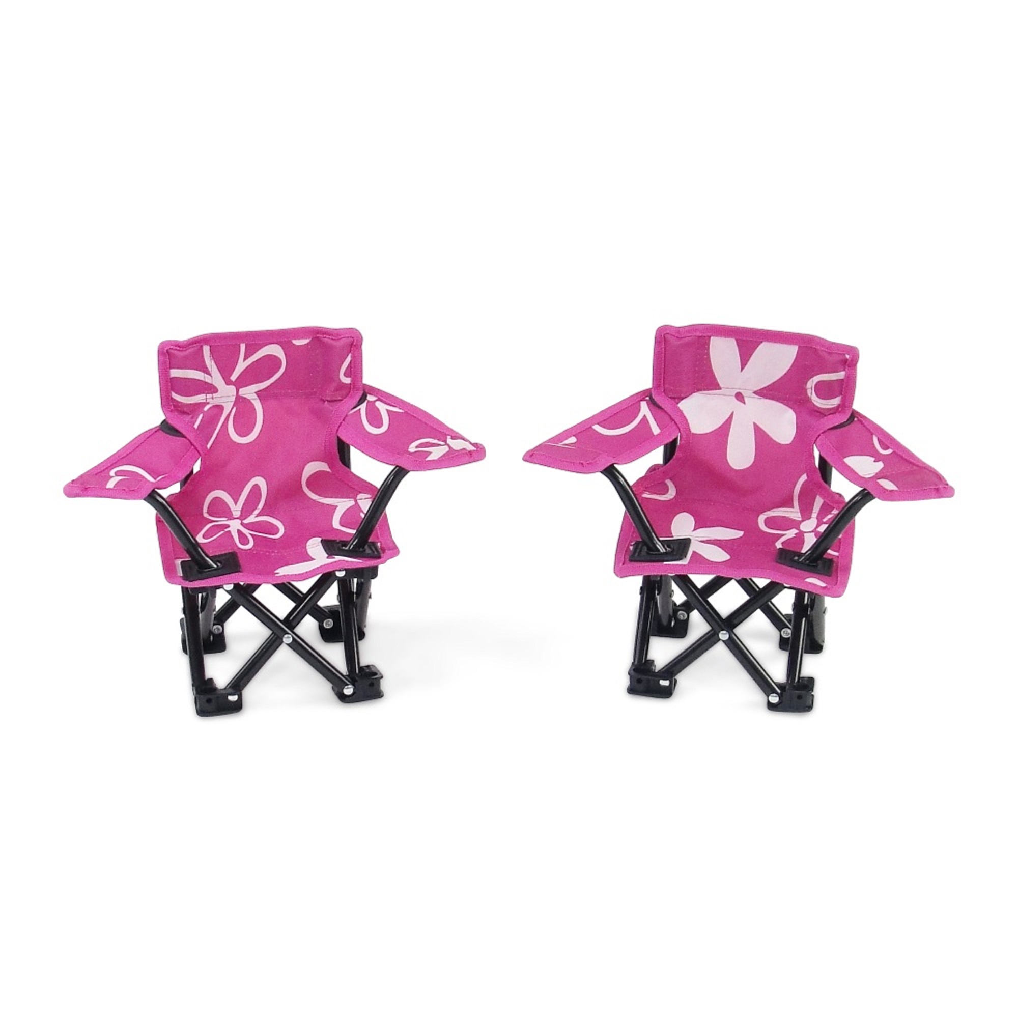 18 Inch Doll Accessories | Awesome Pink and White Flowered Camping Sports Chairs, includes... by Emily Rose Doll Clothes