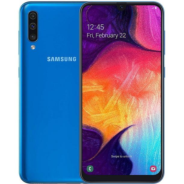 Refurbished Samsung SM-A505FZBSBTU Galaxy A50 A505G 128GB Dual SIM Unlocked GSM Phone w/ Triple (25MP+8MP+5MP) Camera - Blue