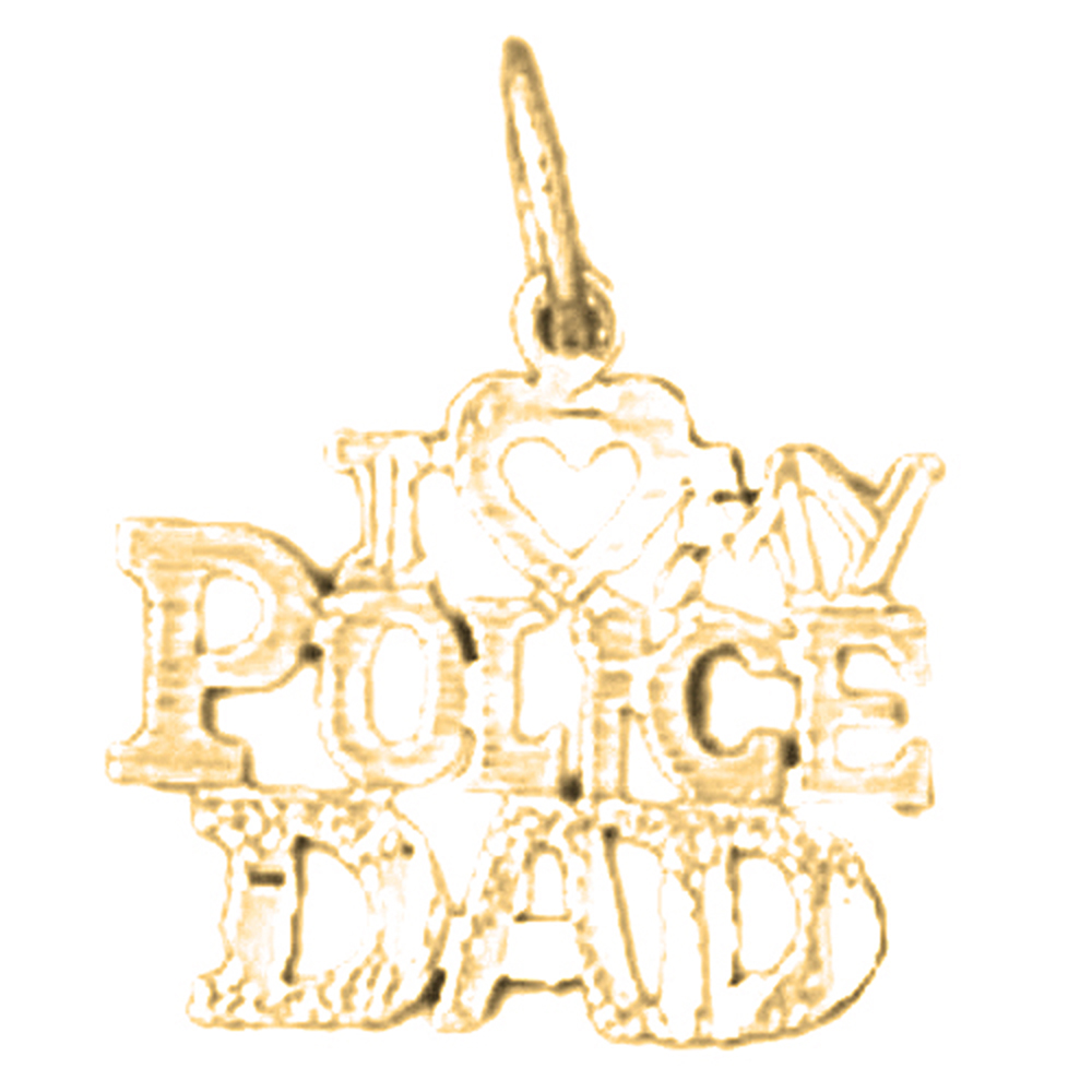 18K Yellow Gold I Love My Police Dad Pendant - 17 mm