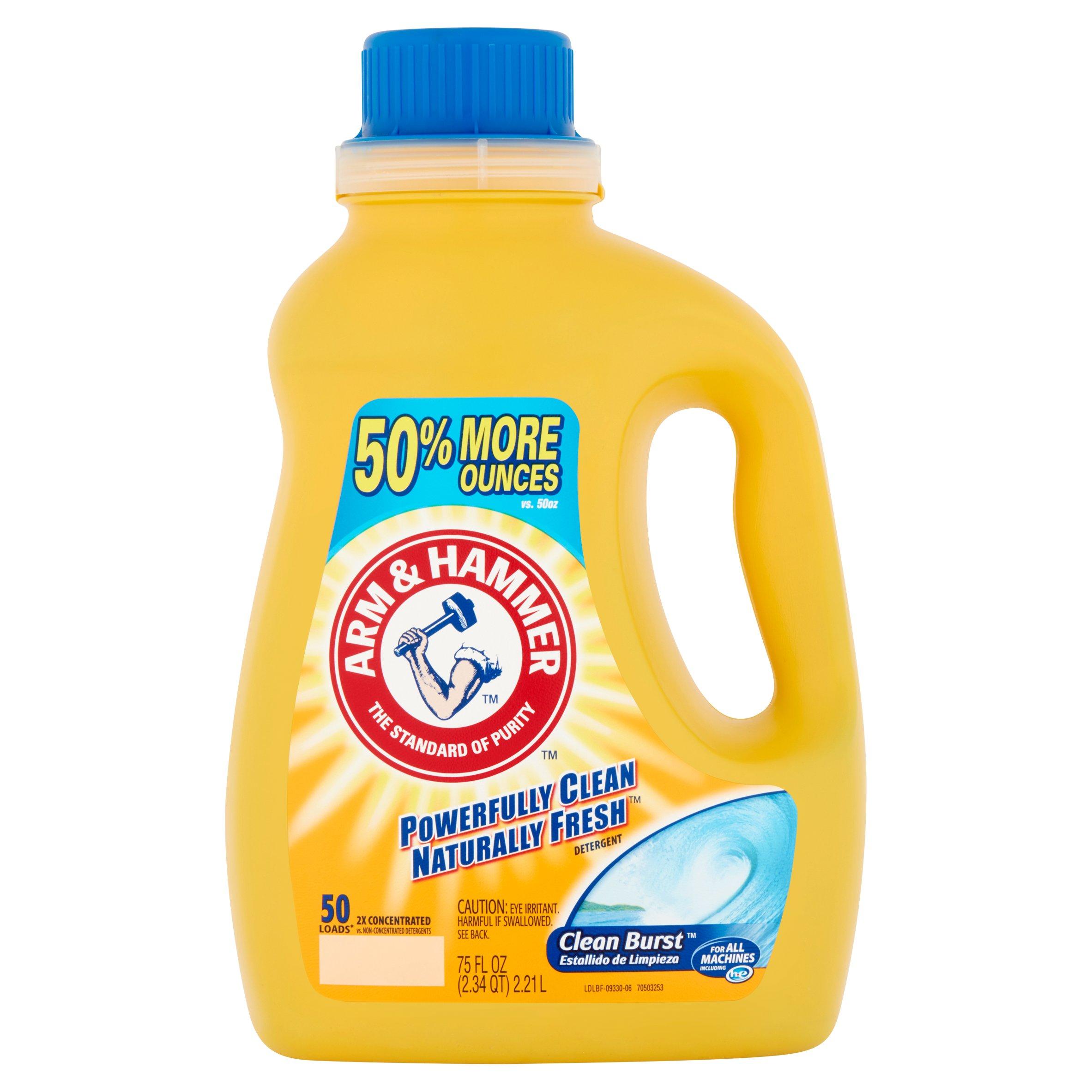 Arm & Hammer Powerfully Clean Naturally Fresh Clean Burst Detergent, 50 loads, 75 fl oz