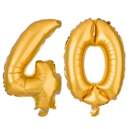 Non-Floating 40 Number Balloons for 40th Birthday Party Decorations Small 13 Inch (Gold)