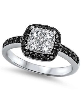 DTLA Sterling Silver Cubic Zirconia Black CZ Halo Engagement Ring - 10