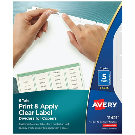 Avery 5-Tab Binder Dividers, Easy Peel Clear Labels for Copiers, Index Maker, White Tabs, 5 Sets (11421) Avery Index Maker White Dividers