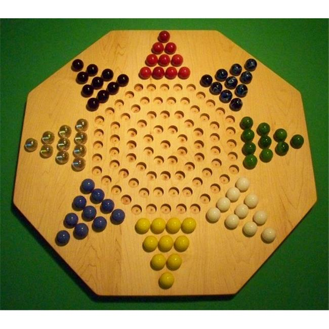 THE PUZZLE-MAN TOYS W-1956 Wooden Marble Game Board - Chinese Checkers - New 22 in. Octagon - 8-Player - Hard Maple