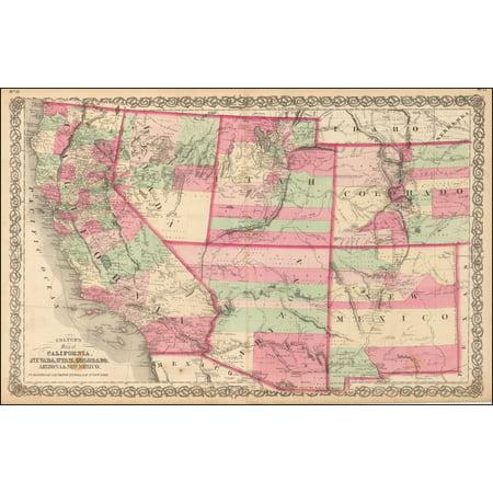 LAMINATED POSTER Colton's Map of California, Nevada, Utah, Colorado, Arizona & New Mexico POSTER PRINT 24 x
