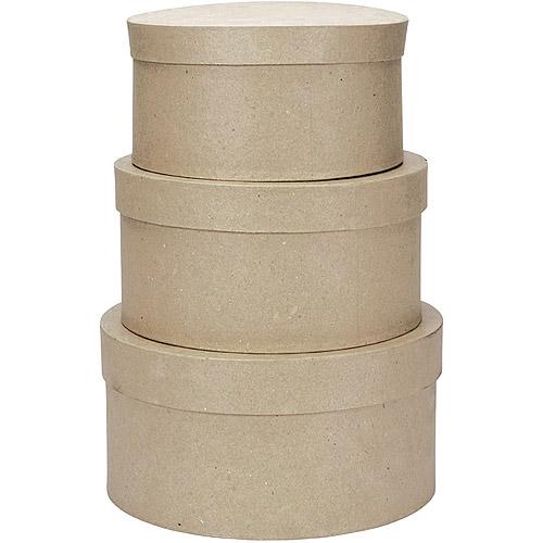 Darice Paper Mache Round Box, Set of 3