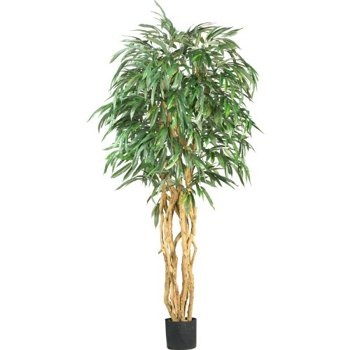 Real Looking 6' Weeping Ficus Silk Tree Green Colors - Si...