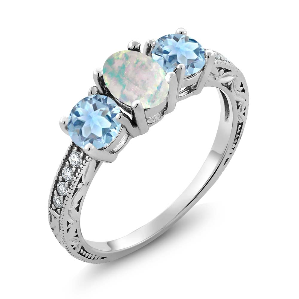 1.55 Ct Oval White Simulated Opal Sky Blue Aquamarine 925 Sterling Silver Ring by