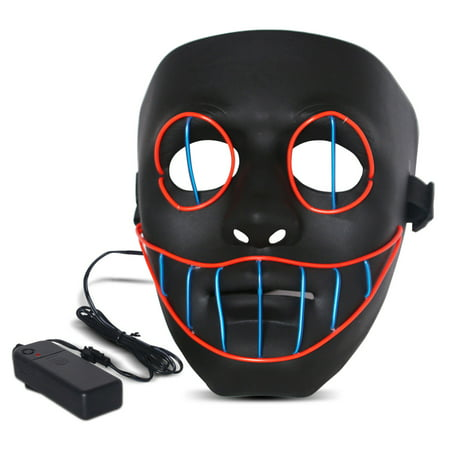 Halloween LED Mask Purge Masks with Lighten EL Wires Scary Light Up Cosplay Costume Mask Battery-operated Glowing Creepy Mask Black with Blue&Red Wrie - Halloween Express Purge Mask