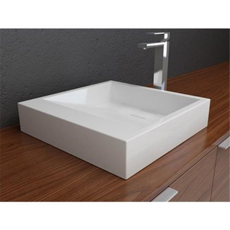 Round Above Counter Bath Sink - Solid Surface Countertop Basin Sink - Above Counter Sink for Use with Standard Pop Up Drain