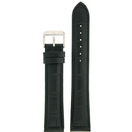 Black Alligator Leather Band - Watch Band XXL Long Genuine Leather  Black Alligator Grain 20mm