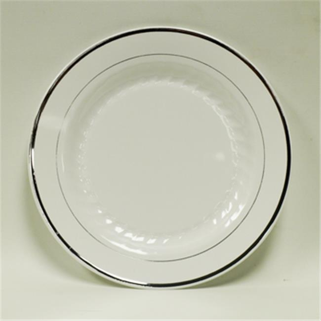 Maryland Plastics Regal CASE-R20060SVR 6 inch Dessert Plastic Plate With Silver foil, White, 120 Per Pack