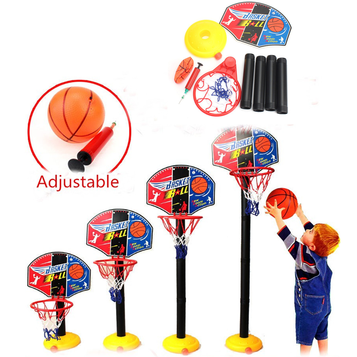 Adjustable Mini Backboard Hoop Net Set with Basketball Indoor Outdoor Sports Toy Gift For Child Kids