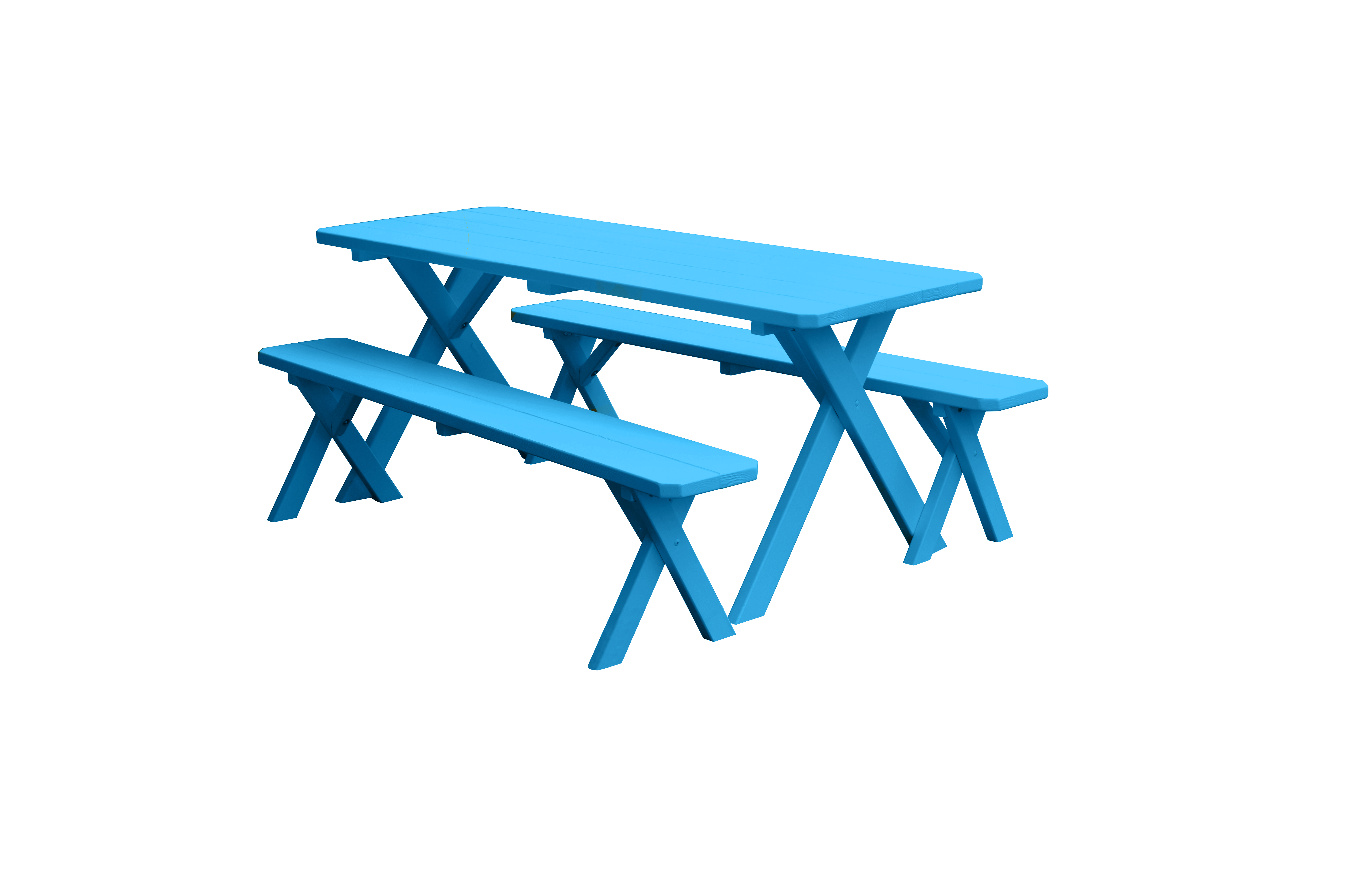 8 foot Cross-leg Wooden Picnic Table with 2 Wooden Benches by Supplier Generic