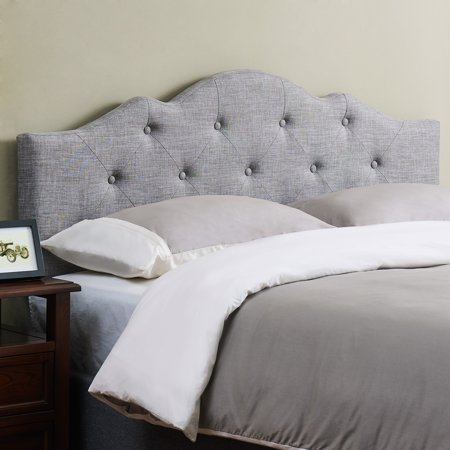 Mainstays Minimal Tufted Rounded Headboard, Multiple Sizes and (Leather Queen Size Headboard)