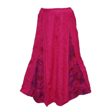 Mogul Women's Peasant Long Skirt Pink Embroidered Rayon Skirts](Peasant Skirt)