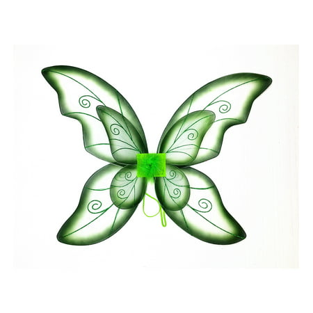 Mozlly Mozlly Double Layer Green Fairy Wings For Adults w/ Garterized Strap 23