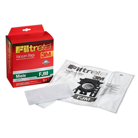 Miele FJM Synthetic Vacuum Bags and Filters by Filtrete, 5 Bags and 2 (5 Vacuum Bags)