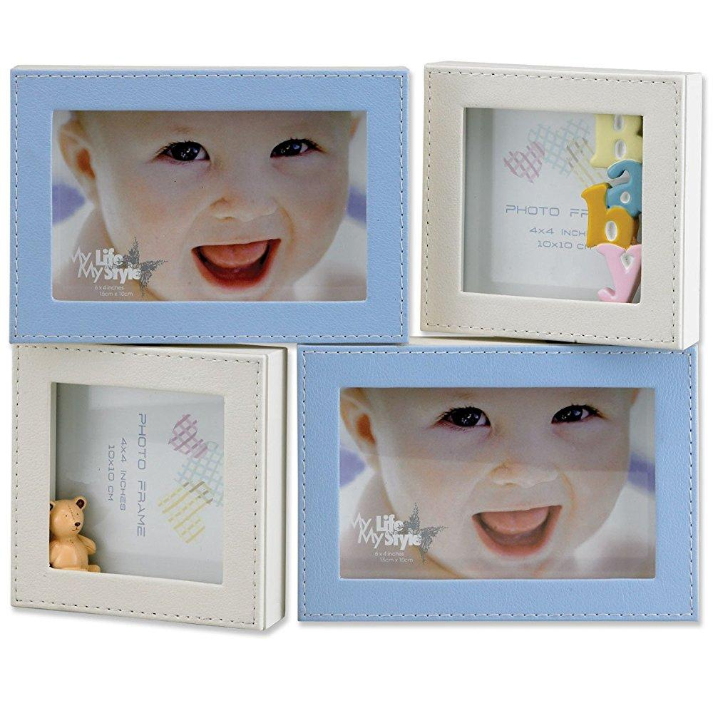 lawrence frames 4 by 6-inch and 4 by 4-inch multi opening leatherette picture frame, blue