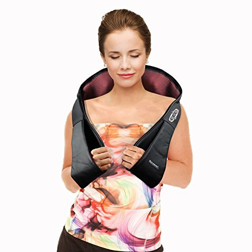 Belmint Shiatsu Neck Back Massager with Heat- Perfect for Car/Office Chair - Massages Neck, Shoulder, Back, Waist (Black)