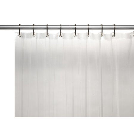 3 Gauge Vinyl Shower Curtain Liner w/ Weighted Magnets and Metal Grommets in Super Clear